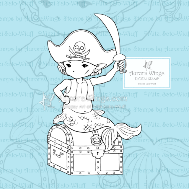 Aurora Wings Little Pirate PNG Digital Stamp Fantasy Art